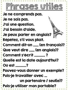 Printable French Classroom Poster - Useful Classroom Phras