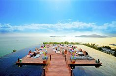 The rooftop bar at SRI PANWA in Phuket, Thailand, appears to float on a wraparound infinity pool with knock-your-socks-off views over Phuket's Cape Panwa peninsula and the Andaman Sea. Phuket Thailand, Thailand Travel, Hotel Thailand, Phuket Hotels, Hotels And Resorts, Villa Phuket, Best Hotels Santorini, Santorini 2017, Beach Resorts