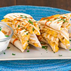 Buffalo Chicken Quesadillas...could also use 1 can white beans (pureed, so like refried beans) instead of chicken for a vegetarian version.