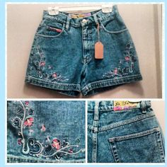 #90s #highwaisted #embroidered #denim #shorts #jeanshorts #denimshorts #momshorts by #noexcuses  M.  #1990s #summerstyle #summer #highwaist #90sfashion #90sgirl #niagarafleamarket #stcatharines #rolypolyrecords