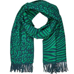 Green leopard and zebra print blanket scarf - River Island River Island Fashion, Blanket Scarf, Zebra Print, My Favorite Color, Beautiful Outfits, Boy Or Girl, Fashion Beauty, Fashion Outfits, My Style
