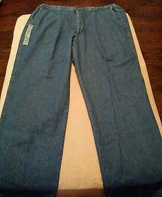 Haggar Classic American Fit Elastic Sides 40X32 Pleat Front Denim Stonewash Pant