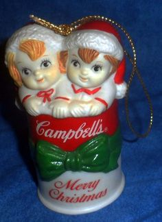 Campbell's Soup Kids Ceramic Girl & Boy in Merry Christmas Soup Can       U #CampbellsSoupCompany