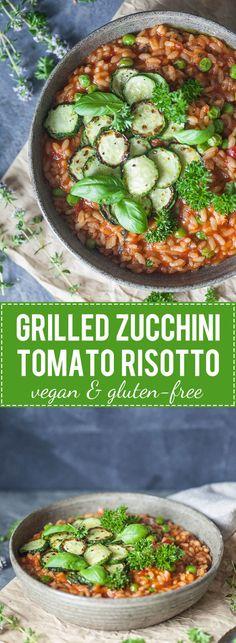 A Creamy Grilled Zucchini Tomato Risotto for a light summer dinner! Vegan & Gluten-Free.   www.vibrantplate.com
