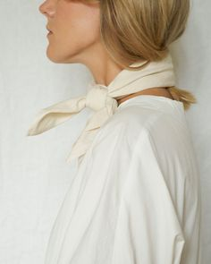 Dobby Fabric, Chill Style, Square Scarf, Ponytail, Ruffle Blouse, Style Inspiration, Cream, Cotton, How To Wear