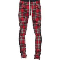 Fear of God Tartan Wool Plaid Trouser ($995) ❤ liked on Polyvore featuring pants, red, pocket pants, fear of god pants, zipper pants, white trousers and white pants