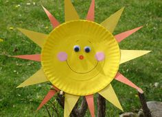 Paper Plate Sun. For ages 4+. Sunshine just screams summer! Kids can bring some sunny rays into your own home, day or night, by making this easy craft.