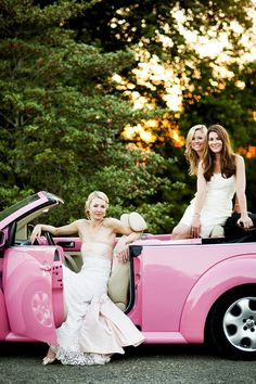 Getting to the Church in Style! #Pink | See the wedding on #SMP: http://www.stylemepretty.com/2013/02/06/virginia-backyard-wedding-from-ritzy-bee-events/  Jennifer Hughes Photography
