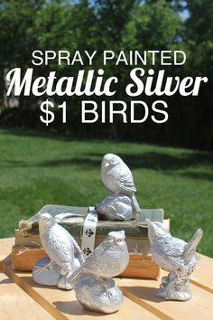 metallic silver painted birds