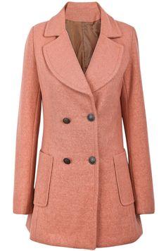 Abrigo de lana solapa bolsillos manga larga-Rosado EUR€31.52