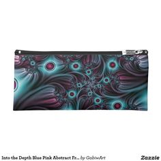 Into the Depth Blue Pink Abstract Fractal Art Pencil Case