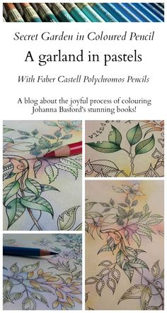 Passion for Pencils: Colouring Secret Garden - A garland in pastels