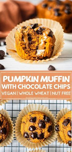 Vegan Pumpkin Muffins with Chocolate chips | These vegan pumpkins muffins with chocolate chip are moist, fluffy and perfectly sweet. They are healthy, vegan and super easy to make too! The perfect whole wheat pumpkin muffins for breakfast, dessert or a midday snack for the whole family | #vegandessert #pumpkinrecipe #pumpkinmuffins #chocolatechips #wholewheatmuffins