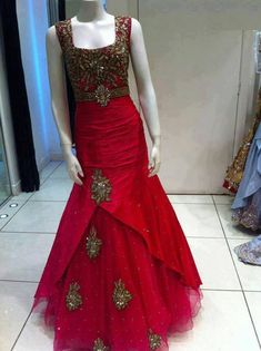 Red Silk Gown, indo western gown, Indian wedding reception outfit