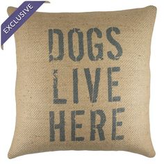 Burlap pillow with a typographic motif. Handmade in the USA.  Product: PillowConstruction Material: Burlap #dog #dogthrowpillow #homedecor