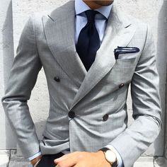 Our stylists from Giorgenti New York stay on top of the latest and best men's fashion styles and trends. For custom clothing like this grey double breasted suit come visit us in our Long Island, Garden City showroom. Gentleman Mode, Gentleman Style, Mens Fashion Suits, Mens Suits, Custom Clothes, Custom Shirts, Herren Outfit, Jackett, Wedding Suits