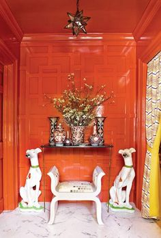 Orange Red Lacquer Lacquered Walls Atlanta Homes Magazine Chinoiserie