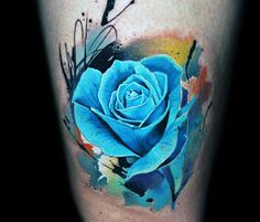Blue Watercolor Mens Rose Flower Tattoo On Arm