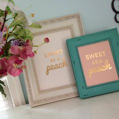 SWEET AS A PEACH - GOLD FOIL PRINT