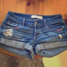 Abercrombie and Fitch shorts Cute distressed, light wash denim shorts! Don't fit anymore so I can't wear them! Abercrombie & Fitch Shorts Jean Shorts