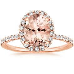 This sparkling halo setting features beautiful scalloped pavé diamonds that encircle the center morganite gemstone and adorn the band. A diamond-encrusted gallery makes this ring truly spectacular. Rose Gold Morganite Ring, Rose Gold Diamond Ring, Classic Engagement Rings, Diamond Engagement Rings, Oval Engagement, Diamond Alternatives, Eternity Ring, White Gold, Brilliant Earth