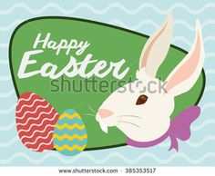 Smiling bunny with purple ribbon in a green sign with Paschal eggs and greeting message for Easter  holidays.