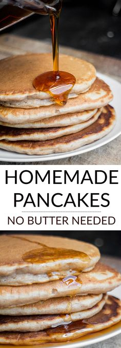 NO BUTTER Homemade Pancakes are fluffy and so easy to make! They're so good you won't miss the butter at all (that makes them more healthy too!). These made from scratch pancakes are my favorite Saturday morning breakfast, my family considers them the best!