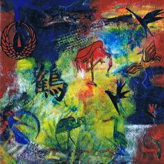 Birds of Paradise..encaustic collage framed 12x12 2 in set $80 or both for 150.