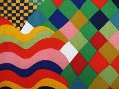 Bauhaus roller-printed cotton furnishing fabric designed by Susan Collier and Sarah Campbell produced by Liberty 1972
