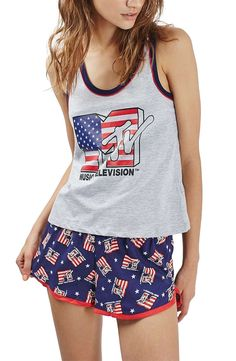 A heathered racerback tank and navy runner shorts pay homage to the early days of music videos as a cozy PJ set stamped with retro MTV logos in a patriotic motif.