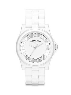 Marc by Marc Jacobs Henry Skeleton White Link Watch - http://www.specialdaysgift.com/marc-by-marc-jacobs-henry-skeleton-white-link-watch/