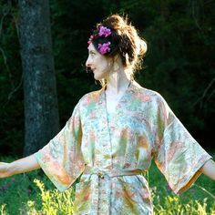Silk Kimono Jacket// Asian Floral Jacket// by AstralBoutique, $38.00