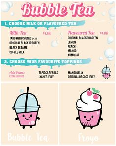 I was asked by clique brothers yogurt shop to create a window display by designing two characters: bubble tea and froyo, to showcase their products. Also a menu for the range of bubble teas.. More to come!