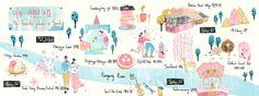My Favorite places in Seoul, Korea, South Korea, animal,sightseeing,flower, map illustration