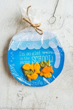 INSTANT DOWNLOAD printable Valentines candy gift DIY fish bowl gold fish swedish fish gummies I'm so glad we're in the same school Valentine #ad