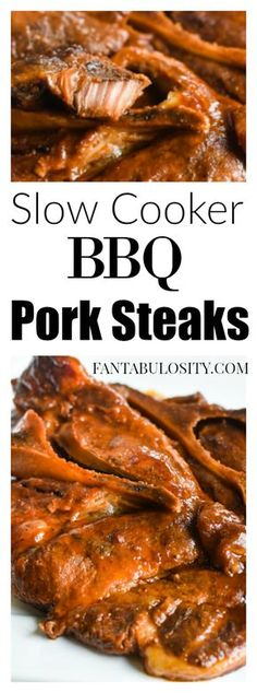 BBQ Pork Steaks in the Slow Cooker: Cook in the crockpot with sauce, & after a few hours they'll be so tender they'll fall off the bone! steak recipe BBQ Pork Steaks in the Slow Cooker - Pork Steak Recipes Crock Pot Recipes, Pork Steak Recipe Crock Pot, Crockpot Pork Steaks, Ham Steak Recipes, Bbq Pork, Slow Cooker Recipes, Cooking Recipes, Pork Steaks In Oven, Porkchops In The Crockpot