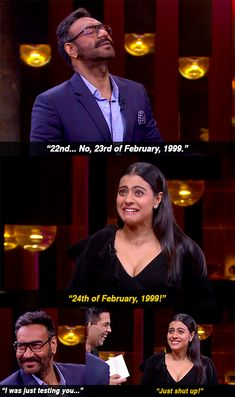 """And when Ajay lost whatever few brownie points he may have won during the episode, as soon he forgot his anniversary. 16 Moments From Kajol And Ajay Devgn's """"KwK"""" Episode That Were Either Banterous Or Just Plain Mean Marriage Words, Marriage Humor, Cartoon Memes, Funny Cartoons, Funny Jokes, Extremely Funny Memes, Funny True Facts, Desi Problems, Vintage Bollywood"""