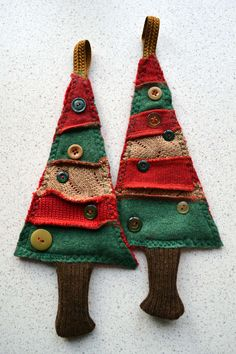 Christmas tree ornaments handmade with re-cycled wool sweaters by La Tailleuse. https://www.etsy.com/shop/LaTailleuse?ref=hdr_shop_menu