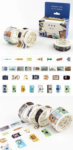 Travel themed washi tape with cameras, suitcases, postage stamps, and historical landmarks from around the world. Perfect for attaching memorabilia to your travel journal.