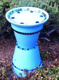 Homemade Bird Bath from terra cotta pots & dishes