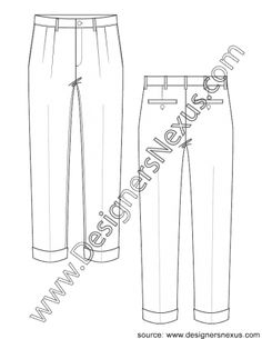 005 mens apparel flat sketch pleated dress pants cuffed hems - FREE download and more mens flats in Illustrator & .png at designersnexus.com!