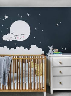 Moon, Clouds and Stars Wall Decal - Vinyl Wall Stickers, Nursery Decor, Kids Stickers - Your little darling will have a good night& sleep under our moon, clouds and star wall decals - Moon Nursery, Star Nursery, Nursery Room, Nursery Decor, Clouds Nursery, Wall Decor, Wall Art, Nursery Wall Stickers, Kids Stickers
