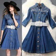 Sonbahar kadın kot elbise dönüş- yaka aşağı düğmesi kanatları elmas- Line jean elbise lüks zarif ince kış elbise t3595(China (Mainland))