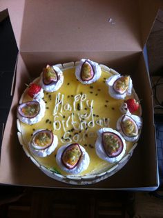 Passion fruit cake with white chocolate mousse!
