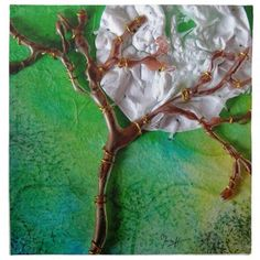 Mixed Media #Tree and #Moon Cloth #Napkin #MartaHarvey #collage
