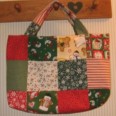 Christmas Time Crafter's Patchwork Tote ($25) ❤ liked on Polyvore featuring christmas and handmade
