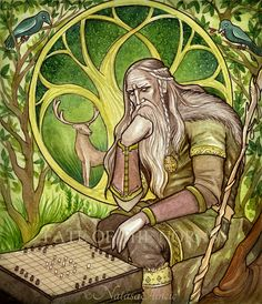 """Baldr, the White god, son of Frigg and Odin. """"The second son of Odin is Baldur, and good things are to be said of him. He is best, and all praise him; he is so fair of feature, and so bright, that ..."""
