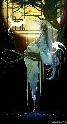Would make a gorgeous painting. Lady umbrella sunset tree and bird. Would make a gorgeous painting. Lady umbrella sunset tree and bird. Anime Art Girl, Manga Art, Anime Fantasy, Fantasy Art, Pandaren Monk, China Art, Image Manga, Beautiful Anime Girl, Fanarts Anime