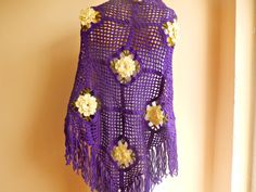Crochet Wool Shawl Purple Violet Lace Scarf by dreamhouse1