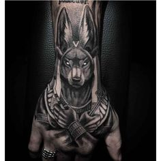 What does anubis tattoo mean? We have anubis tattoo ideas, designs, symbolism and we explain the meaning behind the tattoo. Dope Tattoos, Leg Tattoos, Body Art Tattoos, Tatoos Men, Script Tattoos, Arabic Tattoos, Dragon Tattoos, Pretty Tattoos, Flower Tattoos